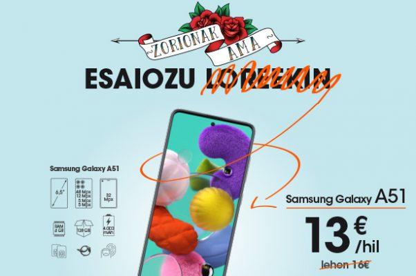 Amaren Eguna etxean ospatzeko planak Samsung Galaxy A51