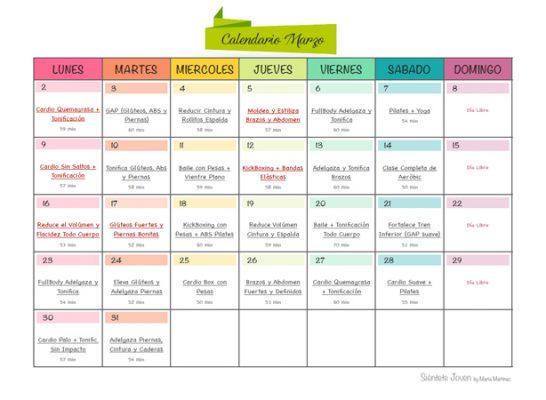 Recomendaciones para hacer deporte en casa Calendario