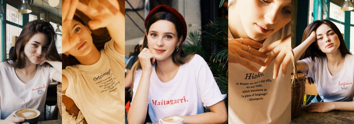 Bihotz París, moda sostenible con mensajes en euskera