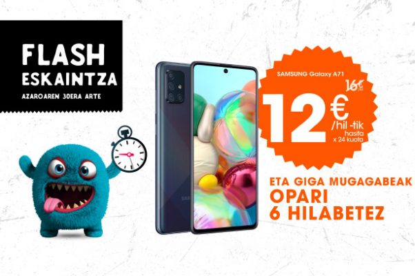 Black Friday en Euskaltel Samsung Galaxy A71