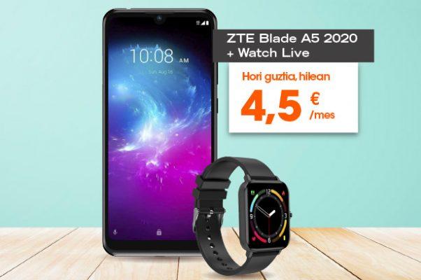 Euskaltel ZTE Blade A5 2020 eta ZTE Watch Live,