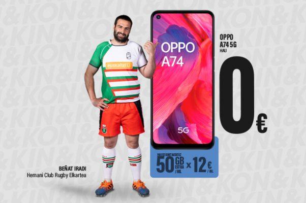 Hilean 12 €-ren truke 50 GB-ko bonua kontratatuta, zero euroan eskuratuko duzu Oppo A74 5G mugikorra