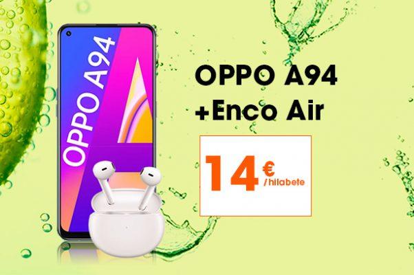 Oppo A94 5G + Oppo Enco Air entzungailuekin