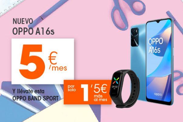 Oppo A16S y Oppo Band Sport por solo 6,5€ al mes